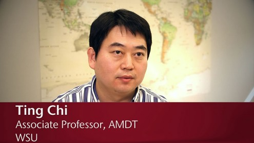 Ting Chi in front of a world map with the text 'Ting Chi, Associate Professor, AMDT, WSU'