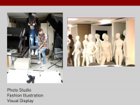 Photograph collage of the visual merchandising studio.